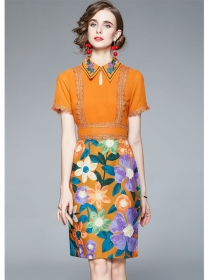 Pretty Women 2 Colors Shirt Collar Flowers Bodycon Dress