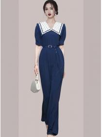 Modern OL Dots Doll Collar High Waist Wide-leg Jumpsuit
