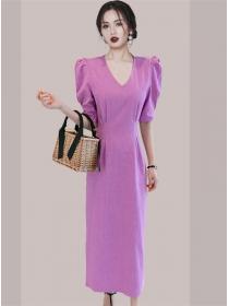 Elegant Women 2 Colors V-neck Puff Sleeve Slim Dress