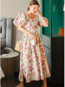 Retro Charming High Waist V-neck Flowers Puff Sleeve Dress