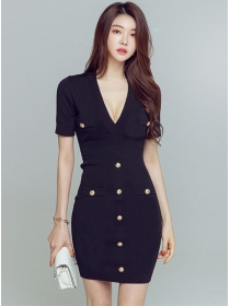 Wholesale Korea Single-breasted V-neck Slim Knit Dress