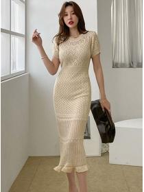 Summer Hot Round Neck Fishtail Slim Knitting Dress