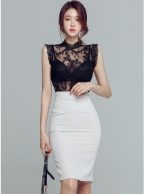Sexy Charming Transparent Lace Blouse with Slim Midi Skirt
