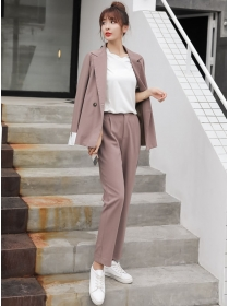 Modern Lady Tailored Collar One Button Jacket with Long Pants