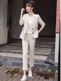 Korea OL Fashion Tailored Collar Slim Two Pieces Long Suits