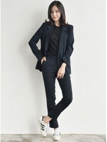 Modern Lady Tailored Collar Stripes Two Pieces Long Suits