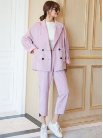 Brand 3 Colors Double-breasted Loosen Jacket with Corduroy Pants