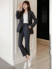 Korea Stylish 2 Colors Double-breasted Plaids Long Suits