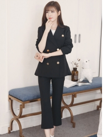 Vogue Lady Tailored Collar Double-breasted Slim Long Suits