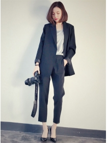 Fashion Autumn Tailored Collar Two Pieces Casual Suits