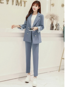 2021 Fashion New Double-breasted Tailored Collar Long Suits
