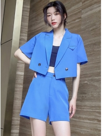 Vogue Summer Tailored Collar Two Pieces Short Suits