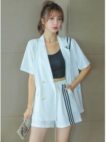 Wholesale 2 Colors Stripes Jacket with Elastic Waist Short Pants