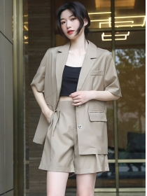 Retro Fashion Single-breasted Tailored Collar Short Suits