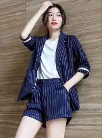 Summer Fashion Tailored Collar Stripes Two Pieces Suits