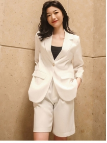 Modern Korea 3 Colors One Button Jacket with Fifth Pants