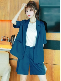 Stylish Summer Tailored Collar Pockets Jacket with Fifth Pants