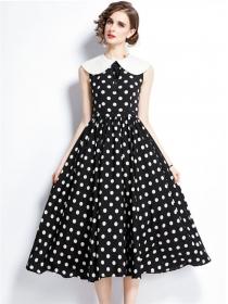 Europe Wholesale Doll Collar High Waist Dots Tank Dress