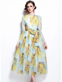 Retro Wholesale Tie Waist Flowers Fluffy Long Dress