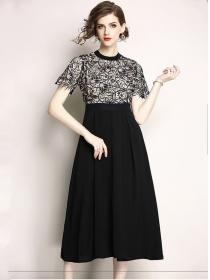 Fashion Women High Waist Lace Embroidery Maxi Dress