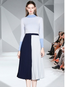 Hot Sell Knitting Tops with Pleated Color Block Long Skirt