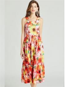 Pretty Europe High Waist Flowers Straps Long Dress