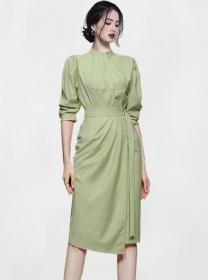 Modern Korea 2 Colors Fitted Waist Puff Sleeve Dress Set