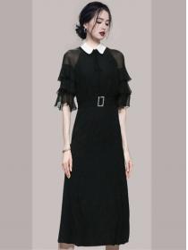 Retro Korea Doll Collar Gauze Puff Sleeve Long Dress