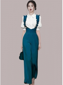 Modern Lady Puff Sleeve Blouse with High Waist Straps Long Pants