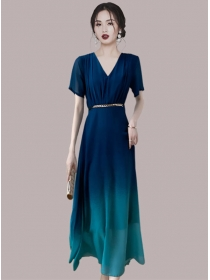 Brand Fashion V-neck Gradient Color Chain Waist Maxi Dress
