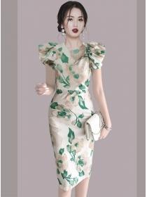 Charming Korea Round Neck Flouncing Sleeve Flowers Dress
