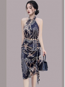 Retro Sexy Off Shoulder Flowers Halter Two Pieces Dress
