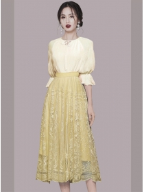 Stunning Fashion Puff Sleeve Blouse with Lace Long Skirt