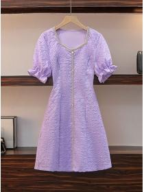 Wholesale Plus Size 3 Colors Puff Sleeve Slim A-line Dress