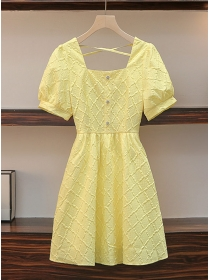 Pretty Plus Size Square Collar Embossing Puff Sleeve Dress