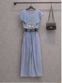 Summer New Plus Size T-shirt with Wide-leg Long Jeans