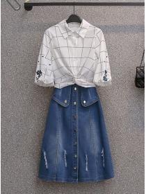 Plus Size Plaids Twisted Waist Blouse with Denim A-line Skirt