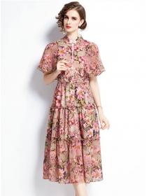 Retro Europe High Waist Flowers Chiffon Puff Sleeve Dress