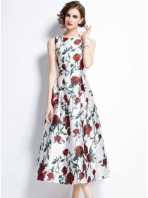 Summer Hot Round Neck Flowers Tank A-line Long Dress