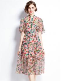 Pretty Women Pearls Bowknot Flowers Puff Sleeve Dress