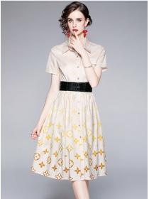 Brand Fashion Belt Waist Shirt Collar A-line Dress