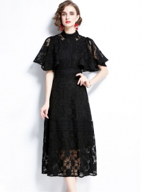 Fashion Wholesale Puff Sleeve Lace Flowers Long Dress