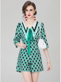 Pretty Women Fashion Tie Doll Collar Flowers Short Suits
