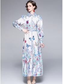 Autumn Fashion Shirt Collar Flowers Puff Sleeve Maxi Dress