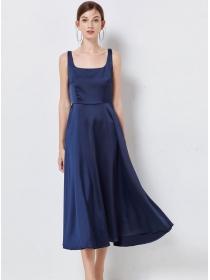 Grace Women High Waist Round Neck Backless Long Dress