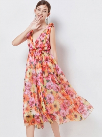 Pretty Summer Low V-neck Tie Waist Flowers Tank Dress