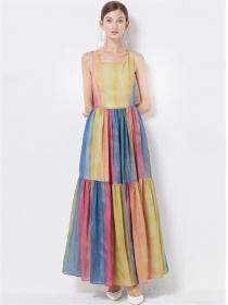 Hot Selling High Waist Rainbow Stripes Backless Maxi Dress