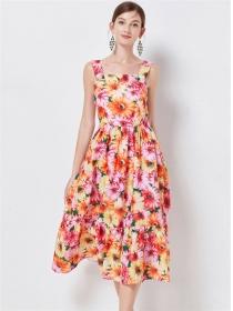 Wholesale Pretty High Waist Flowers Women Straps Dress