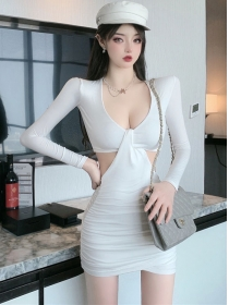 Wholesale Sexy 2 Colors V-neck Waist Hollow Out Skinny Dress