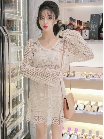 Fairy Fashion Hollow Out Flare Sleeve Two Pieces Dress